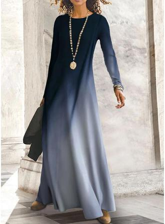 Gradient Long Sleeves Shift Casual Maxi Dresses