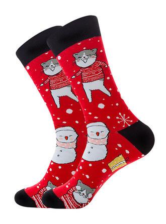 Print Breathable/Christmas/Crew Socks/Unisex Socks