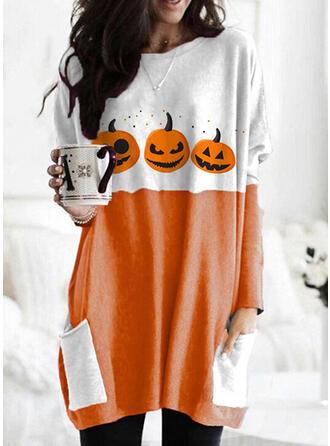 Halloween Print Color Block Round Neck Long Sleeves Sweatshirt