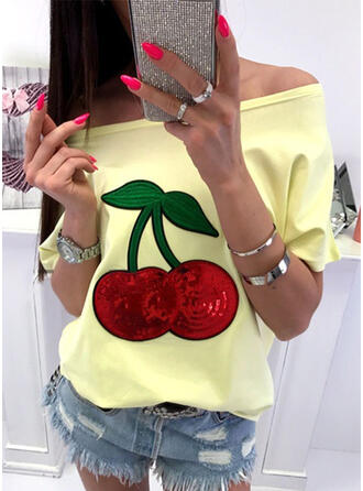 Print Sequins Off the Shoulder 1/2 Sleeves T-shirts