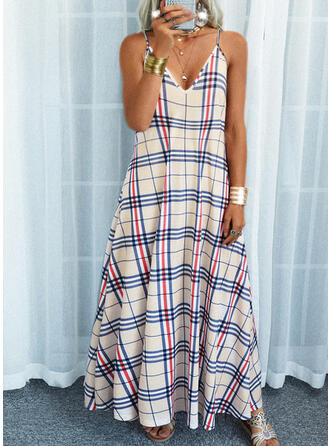 Plaid Sleeveless Shift Slip Casual Maxi Dresses