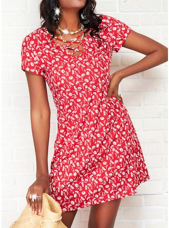 Print/Floral Short Sleeves A-line Above Knee Casual Skater Dresses