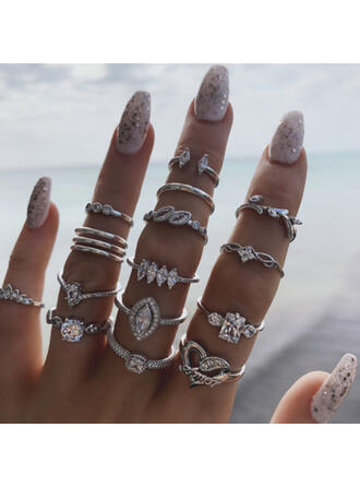 Stylish Vintage Alloy With Rhinestones Rings (Set of 15)