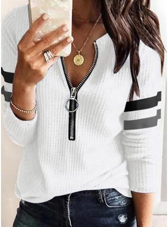 Striped V-Neck Long Sleeves Elegant Blouses