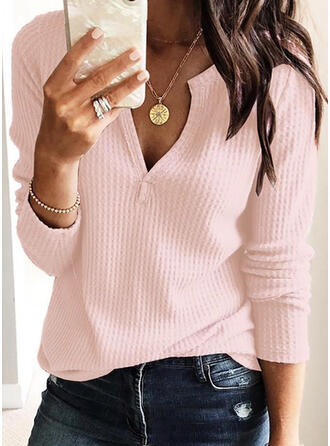 Solid Cotton Knit V-Neck Long Sleeves Casual Basic Blouses