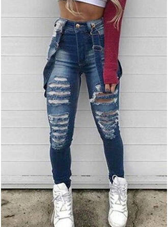 Shirred Plus Size Ripped Long Sexy Denim & Jeans Jumpsuits & Rompers