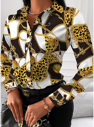 Print Forest Lapel Long Sleeves Casual Blouses