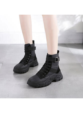 Women's Real Leather Wedge Heel Wedges Boots With Lace-up shoes