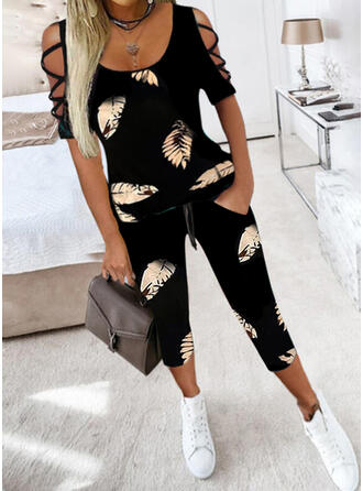 Leaves Print Casual Plus Size Blouse & Two-Piece Outfits Set