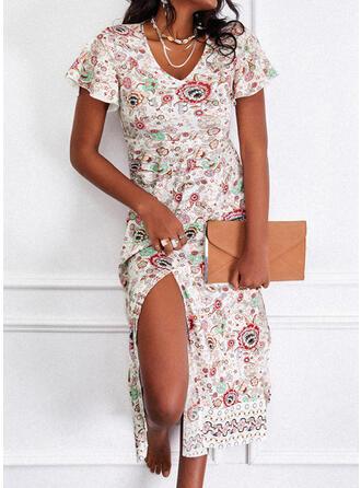 Print/Floral Short Sleeves A-line Skater Casual/Boho Midi Dresses