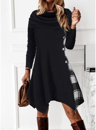 Plaid Long Sleeves A-line Knee Length Casual Skater Dresses