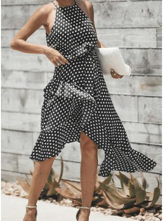 PolkaDot Sleeveless A-line Asymmetrical Casual Skater Dresses