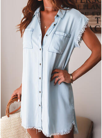 Solid Cap Sleeve Shift Above Knee Casual/Vacation Shirt Dresses