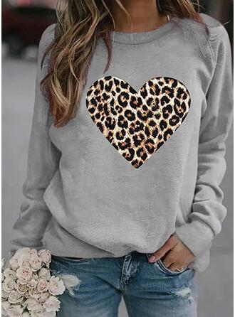 Leopard Heart Round Neck Long Sleeves Sweatshirt