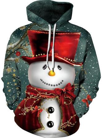 Unisex Cotton Blends Print Christmas Sweatshirt