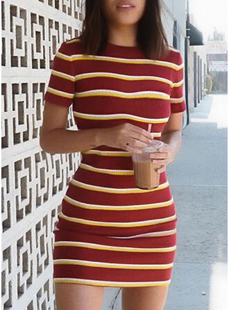 Color Block Short Sleeves Bodycon Above Knee Casual Dresses