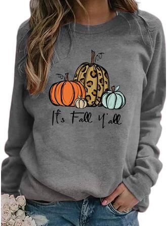 Print Leopard Halloween Round Neck Long Sleeves Sweatshirt