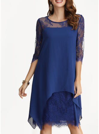 Lace/Solid 1/2 Sleeves Shift Knee Length Party/Elegant Dresses