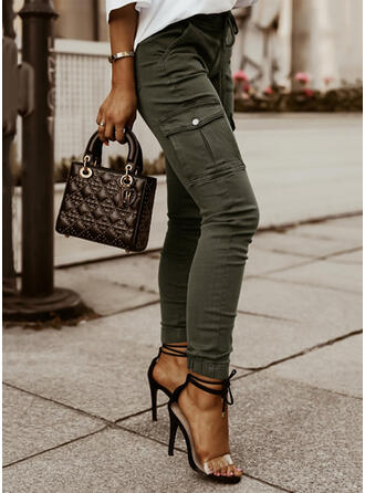 Solid Long Casual Plus Size Office/Business Pocket Button Pants