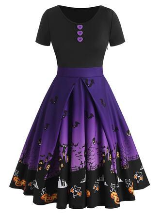 Halloween Print/Color Block/Animal Print Short Sleeves A-line Knee Length Party Skater Dresses