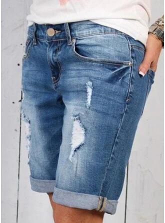 Patchwork Pockets Shirred Casual Sporty Denim Shorts Denim & Jeans