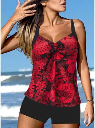 Print Strap V-Neck Retro Boho Tankinis Swimsuits