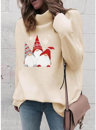 Print Turtleneck Casual Christmas Sweaters