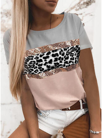 Color Block Leopard Round Neck Short Sleeves T-shirts