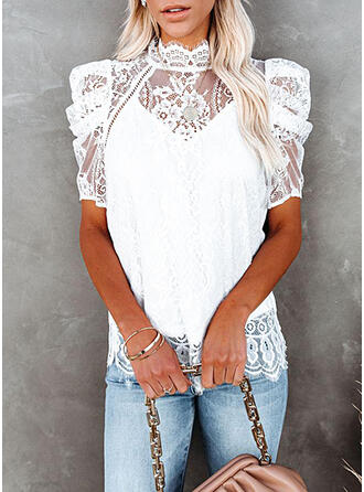Solid Lace Stand collar Puff Sleeves Short Sleeves Elegant Blouses