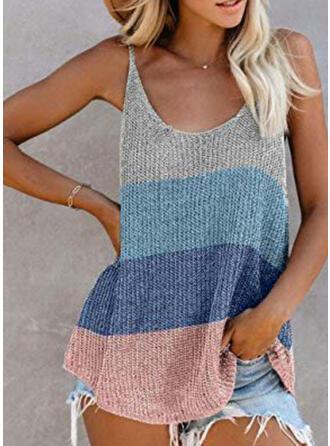 Color Block Knit Spaghetti Straps Sleeveless Tank Tops