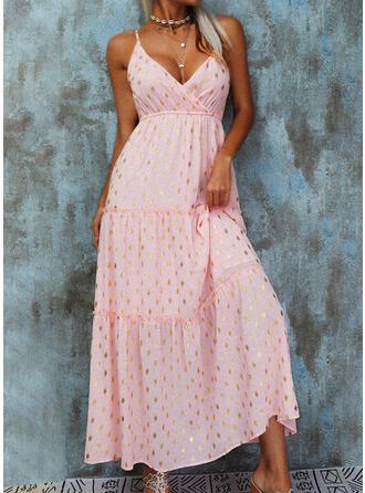 Solid/Backless Sleeveless A-line Slip/Skater Elegant Maxi Dresses