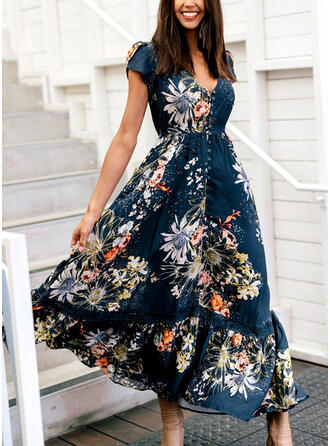 Lace/Print/Floral Short Sleeves A-line Skater Casual Maxi Dresses