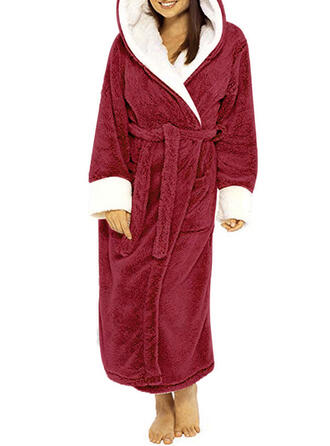 Polyester Solid Long Sleeves Christmas Robe