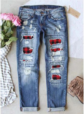 Plaid Cotton Long Casual Vintage Plus Size Stitching Pocket Ripped Pants Denim & Jeans