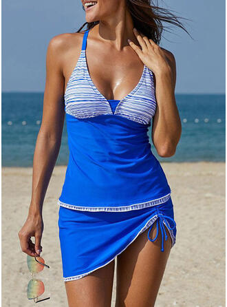 Splice color Halter V-Neck Plus Size Casual Tankinis Swimsuits