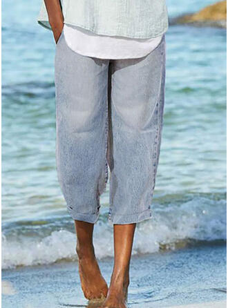 Shirred Casual Plain Denim & Jeans