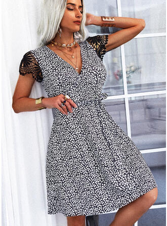 Lace/Print Short Sleeves A-line Above Knee Casual Skater Dresses