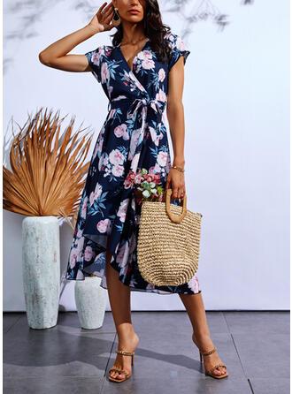 Print/Floral Short Sleeves Cap Sleeve A-line Wrap/Skater Casual Midi Dresses