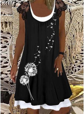 Lace/Print Cap Sleeve Shift Knee Length Casual Tunic Dresses