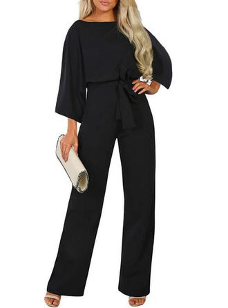 Solid Round Neck 3/4 Sleeves Casual Elegant Little Black Jumpsuit