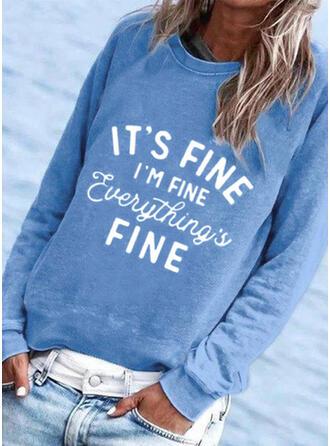 Print Letter Round Neck Long Sleeves Sweatshirt