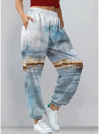 Print Long Casual Pocket Pants