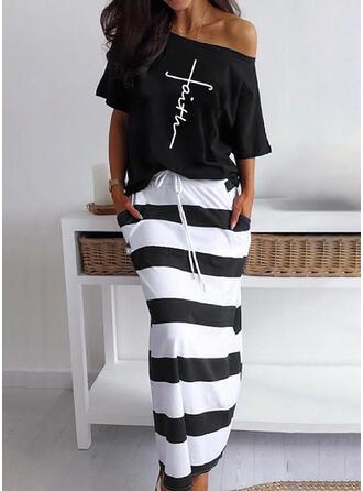 Print/Striped/Letter Short Sleeves Sheath Casual Midi Dresses