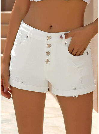 Solid Ripped Solid Denim Shorts
