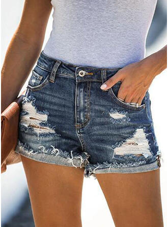 Solid Above Knee Casual Pocket Ripped Button Pants Shorts Denim & Jeans