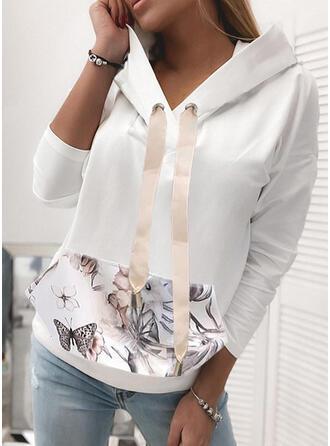 Print Floral Butterfly Long Sleeves Hoodie