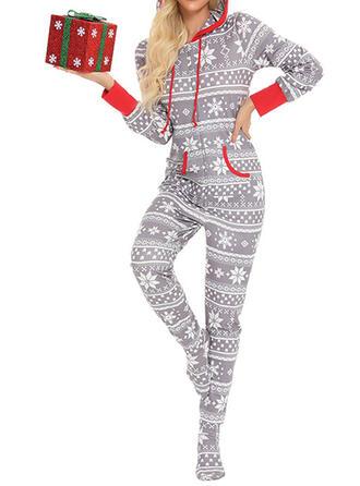 Cotton Long Sleeves Christmas Drawstring Pyjama Set