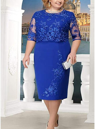 Plus Size Lace Solid 3/4 Sleeves Sheath Midi Casual Elegant Dress