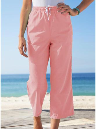 Solid Drawstring Casual Plain Lounge Pants