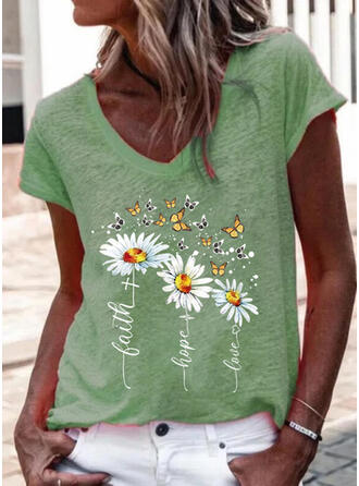 Floral Print Letter Butterfly V-Neck Short Sleeves T-shirts